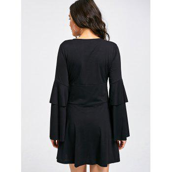 Layered Sleeve V-neck Embroidery Shift Dress - M M