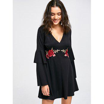 Layered Sleeve V-neck Embroidery Shift Dress - BLACK XL