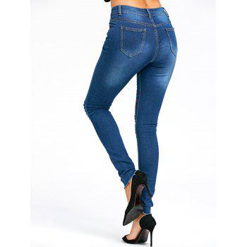 Embroidery Plum Flower Distressed Jeans - BLUE M
