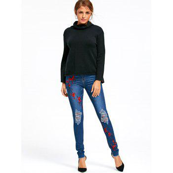 Embroidery Plum Flower Distressed Jeans - BLUE BLUE