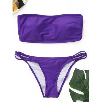 Cross Back Strappy Bandeau Bikini Set - PURPLE PURPLE