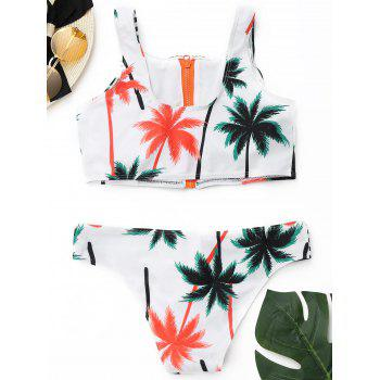 Tropical Bikini Set with Zipper - COLORMIX COLORMIX