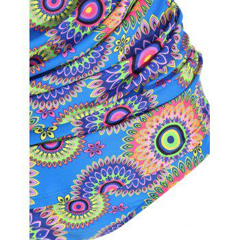 Plus Size Halter Tribal Print Tankini Set - COLORMIX 2XL