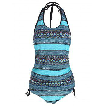 Backless Plus Size Tribal Print Tankini Set - COLORMIX COLORMIX