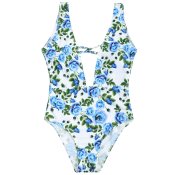 Plunge Floral One Piece Swimwear - CLOUDY CLOUDY