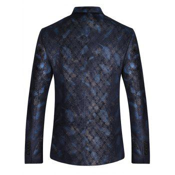 Two Button Feather Print Casual Blazer - BLUE BLUE