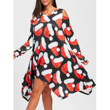 Christmas Hat Printed Cold Shoulder Asymmetric Dress