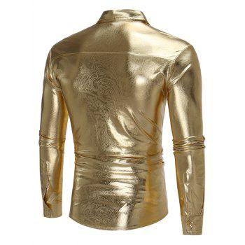 Metallic Fake Leather Paisley Long Sleeve Shirt - GOLDEN L