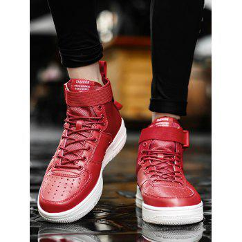 Letter Buckle Strap High Top Sneakers - RED 45