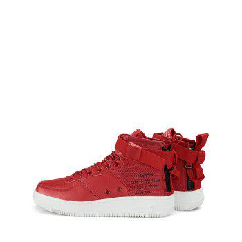 Letter Buckle Strap High Top Sneakers - RED 41