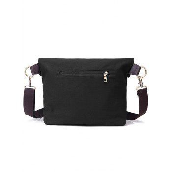 Canvas Badge Crossbody Bag - BLACK