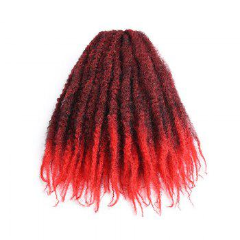 Long Bouffant Afro Kinky Curly Braids Synthetic Hair Weave - RED/BLACK