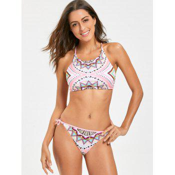 Geometric Print Low Waist Bikini Set - COLORMIX S