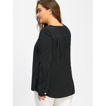 Plus Size Embroidered Notched Smock Blouse - BLACK 6XL
