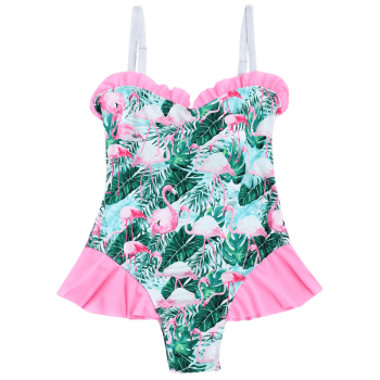 Flamingo Print Ruffled Swimwear - COLORMIX L