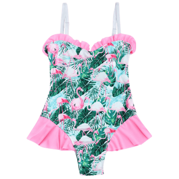 Flamingo Print Ruffled Swimwear - COLORMIX S