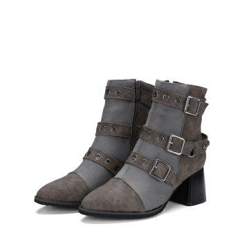 Multi Buckle Straps Chunky Ankle Boots - GRAY 38