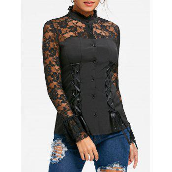 Halloween Lace Yoke Lace Up Top