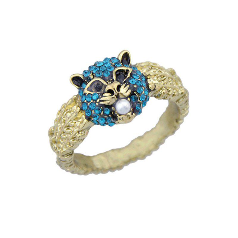 Rhinestone Animal Faux Pearl Ring - GOLDEN