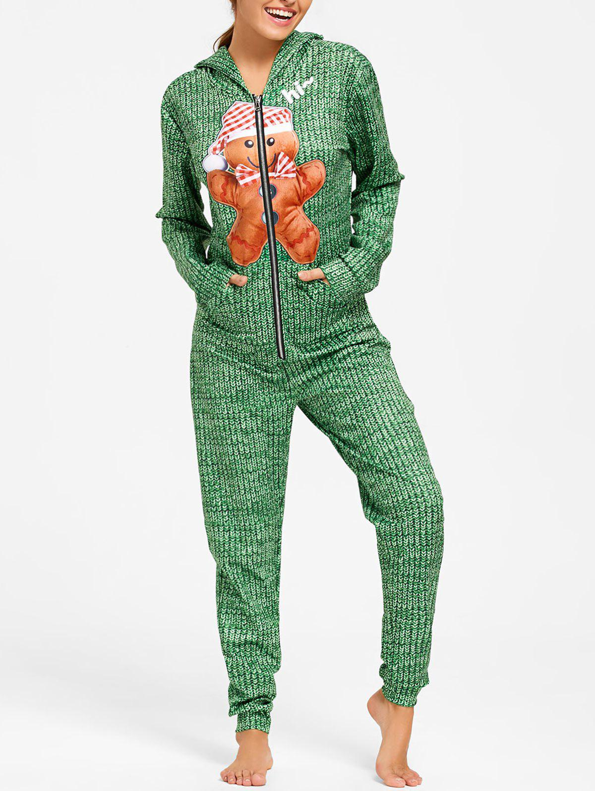 Printed Hooded One Piece Christmas Pajama - GREEN L