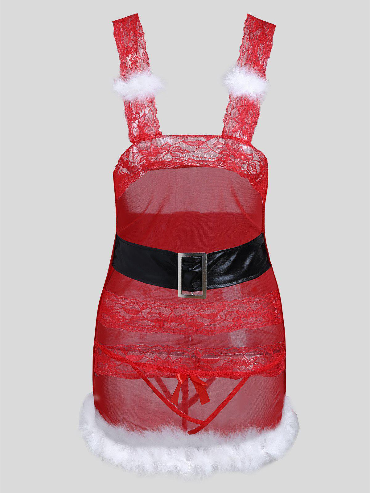 Lace Cut Out Christmas Feather Dress - RED ONE SIZE