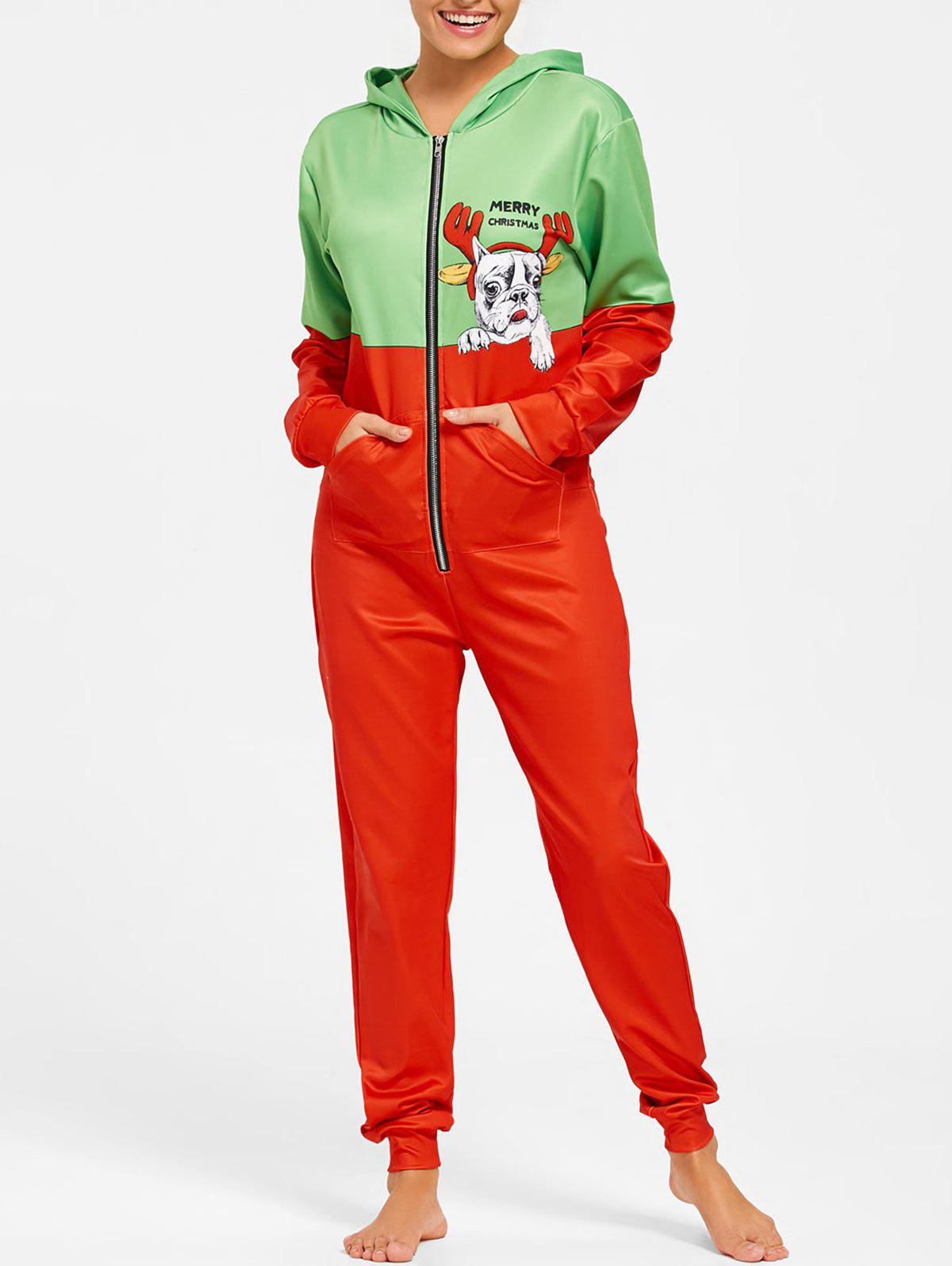 One Piece Hooded Christmas Pajama - COLORMIX L