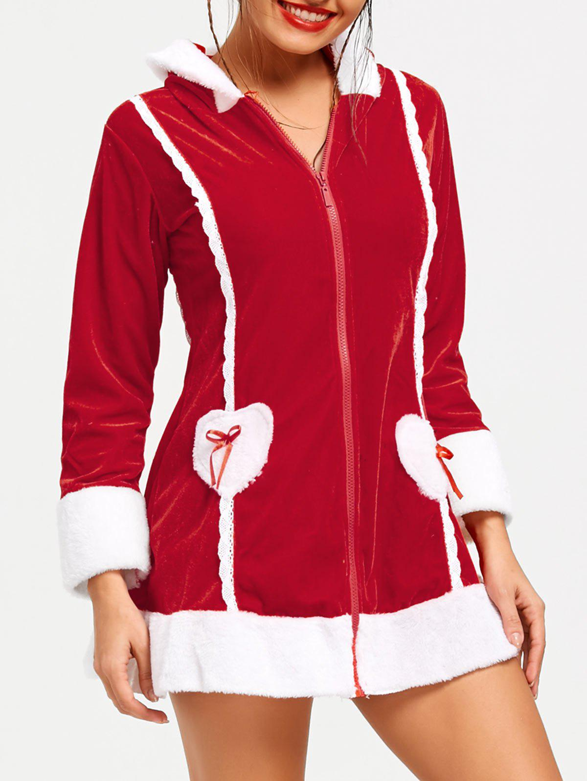 Zipper Hooded Long Sleeve Christmas Dress - RED ONE SIZE