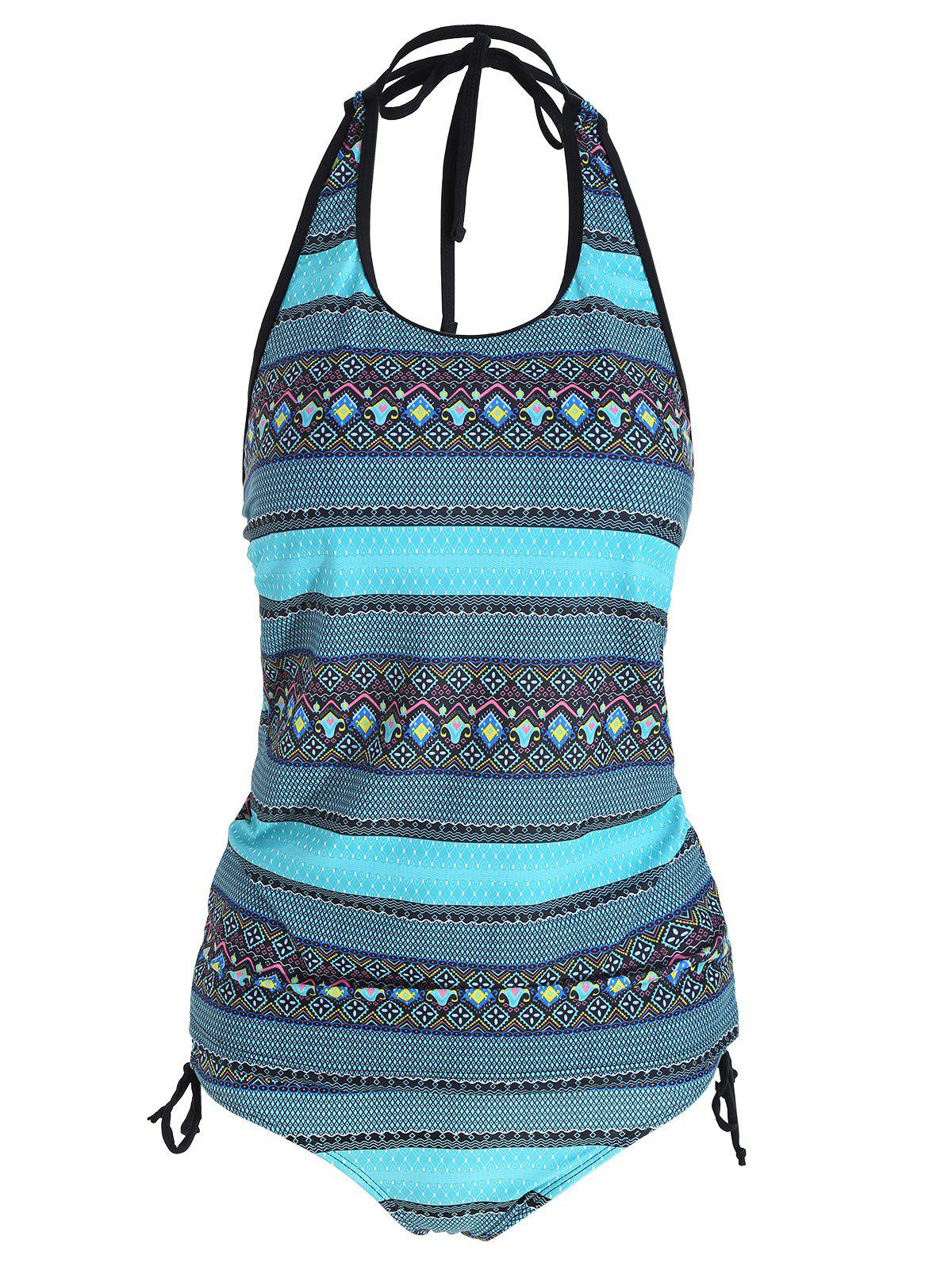 Backless Plus Size Tribal Print Tankini Set - COLORMIX XL