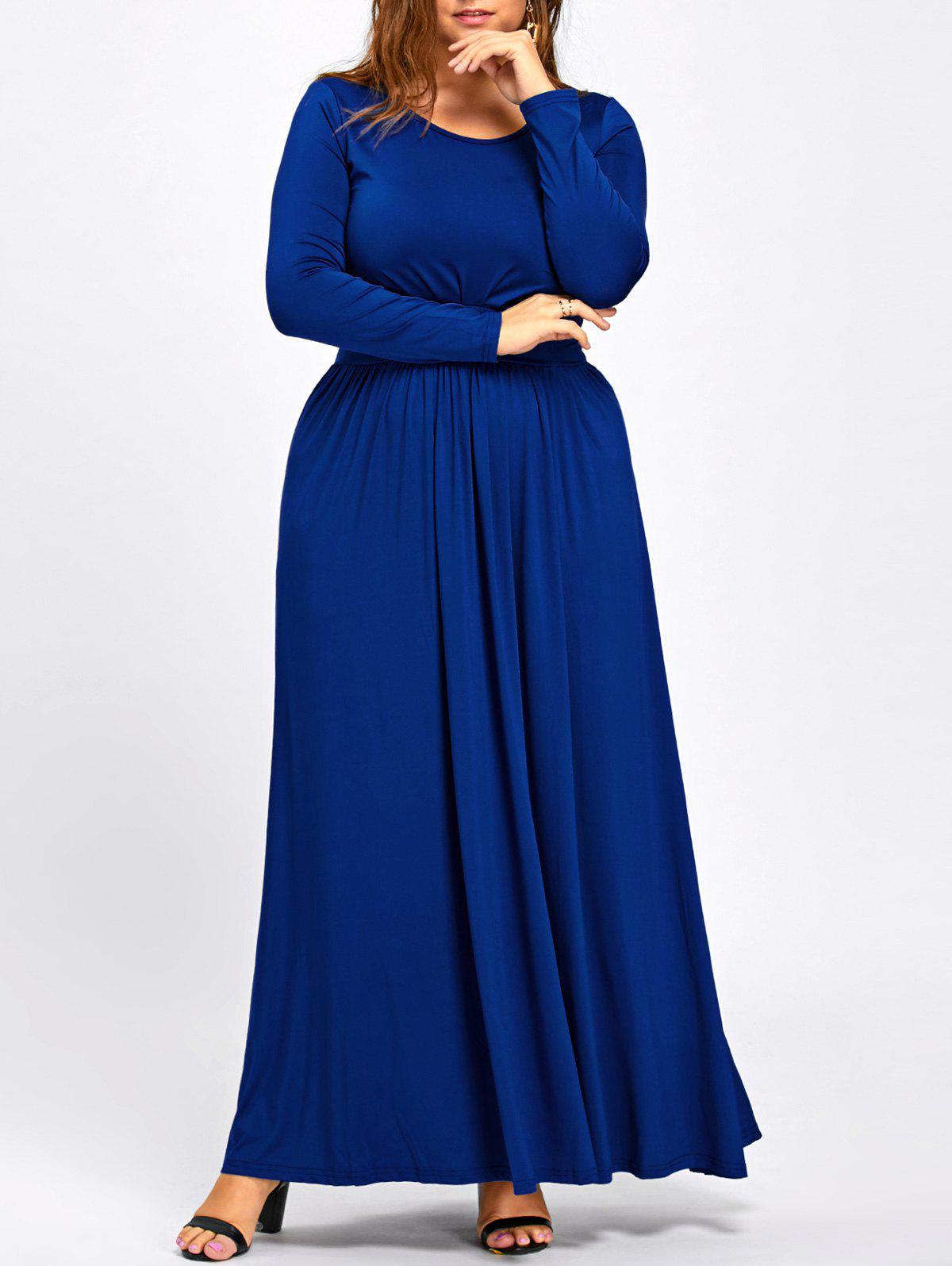 Long Sleeve Plus Size Floor Length Dress - COLOR BLUE 3XL