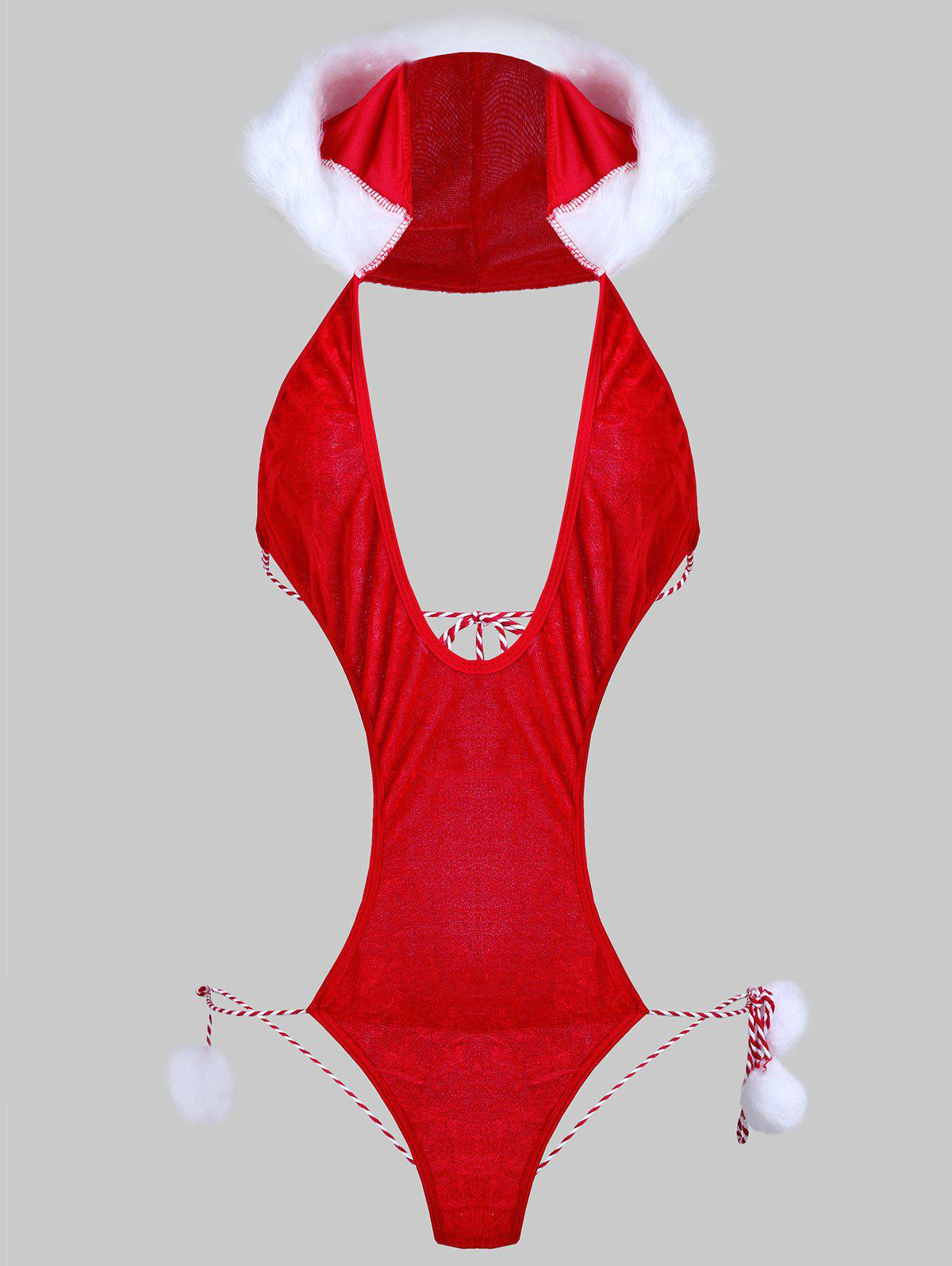 Hooded Plunge Christmas Teddy Costume - RED ONE SIZE