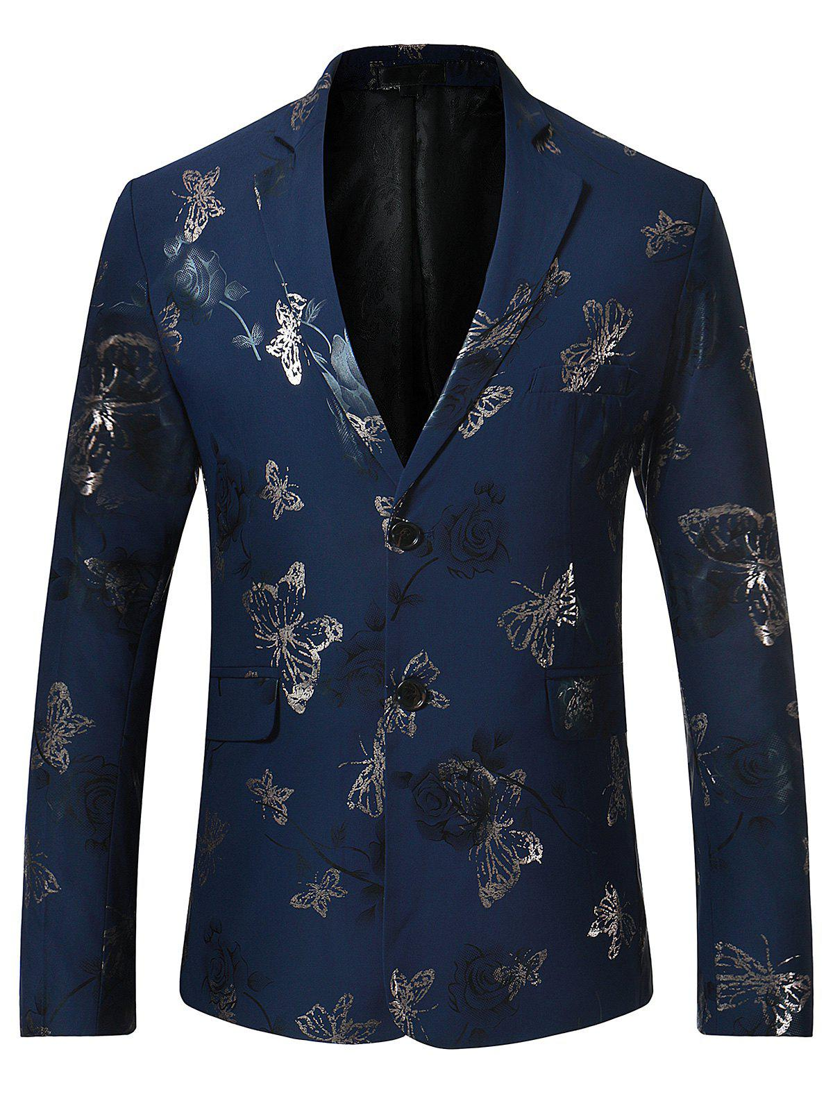 Lapel Metallic Butterfly Floral Printed Blazer - BLUE S