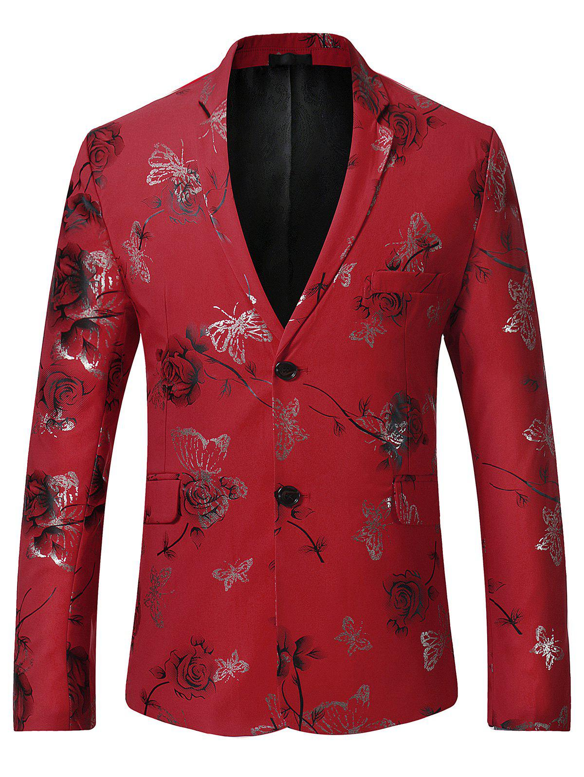 Lapel Metallic Butterfly Floral Printed Blazer - RED L