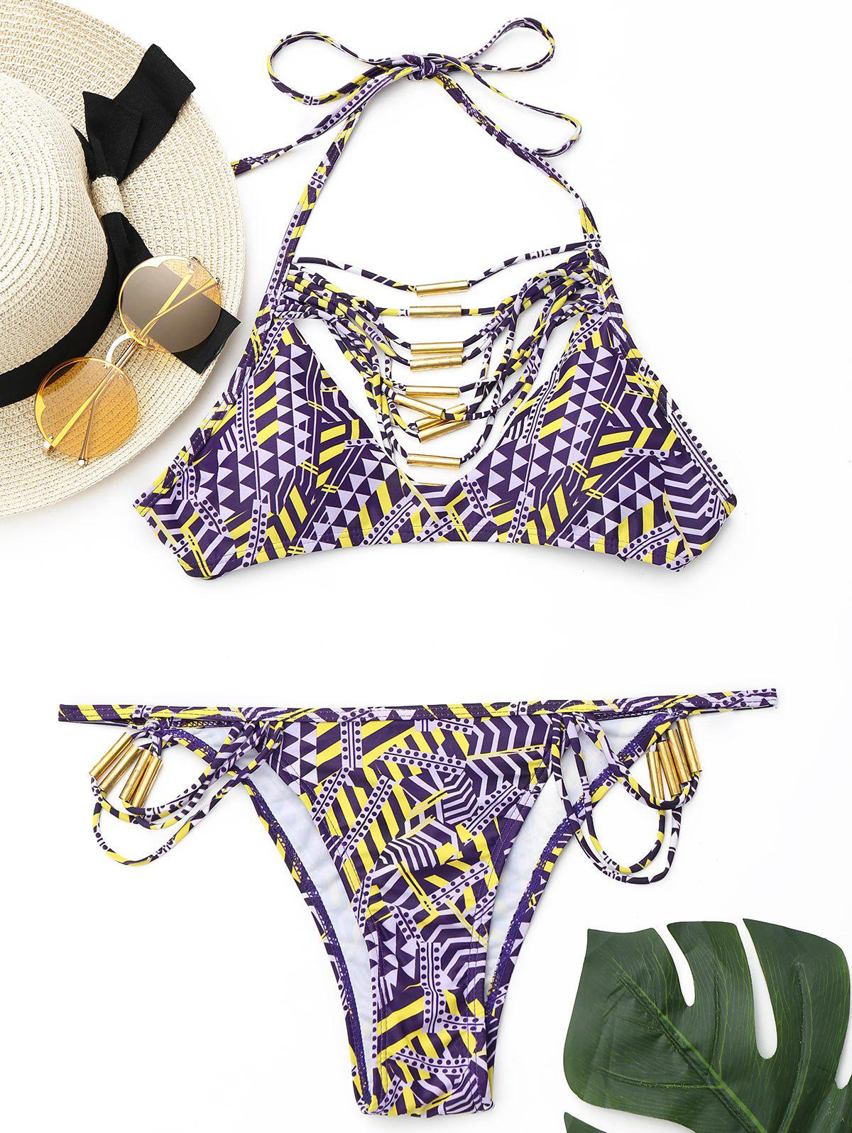 Printed Strappy Halter Bikini Set - PURPLE S