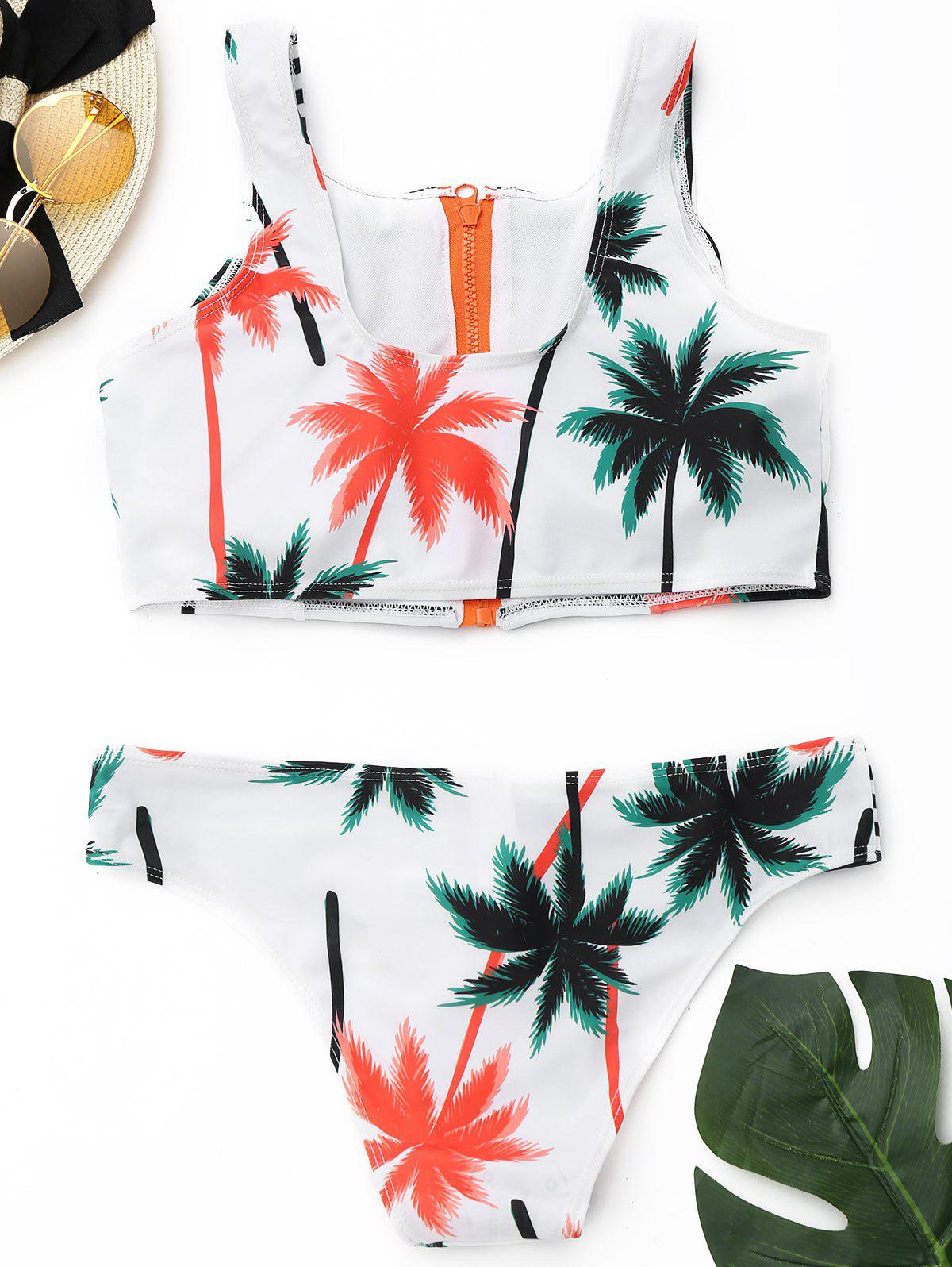 Tropical Bikini Set with Zipper - COLORMIX L