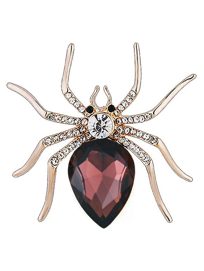 Rhinestone Insert Spider Shape Alloy Brooch - BORDEAUX