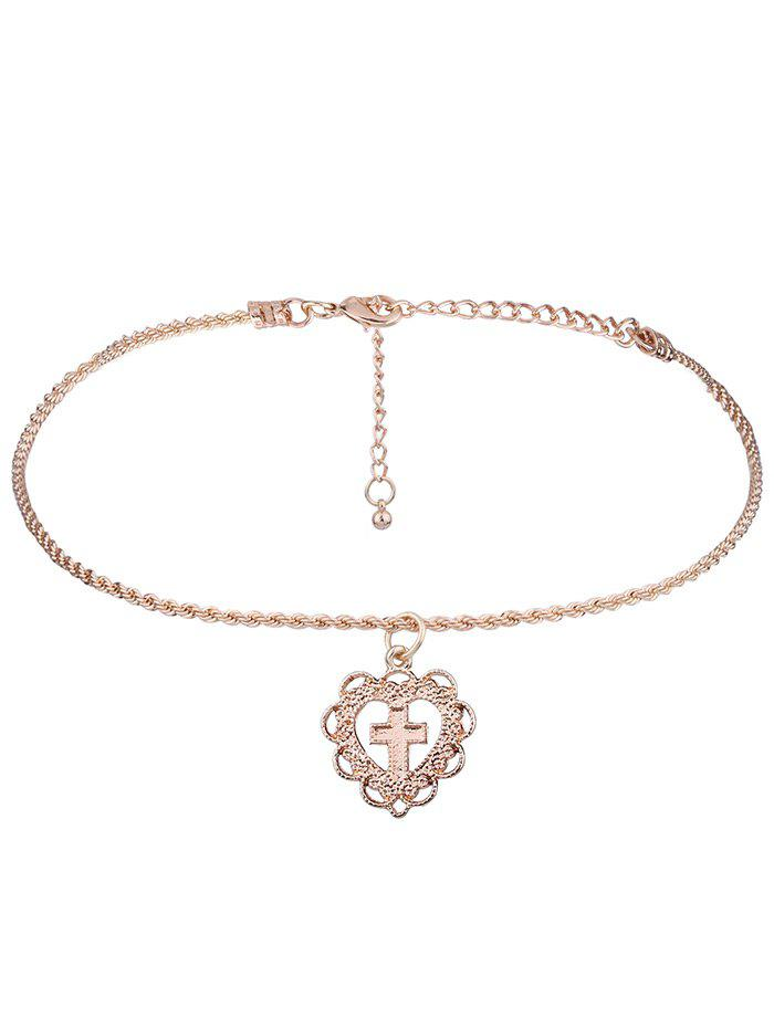 Cross Heart Charm Short Necklace - GOLDEN