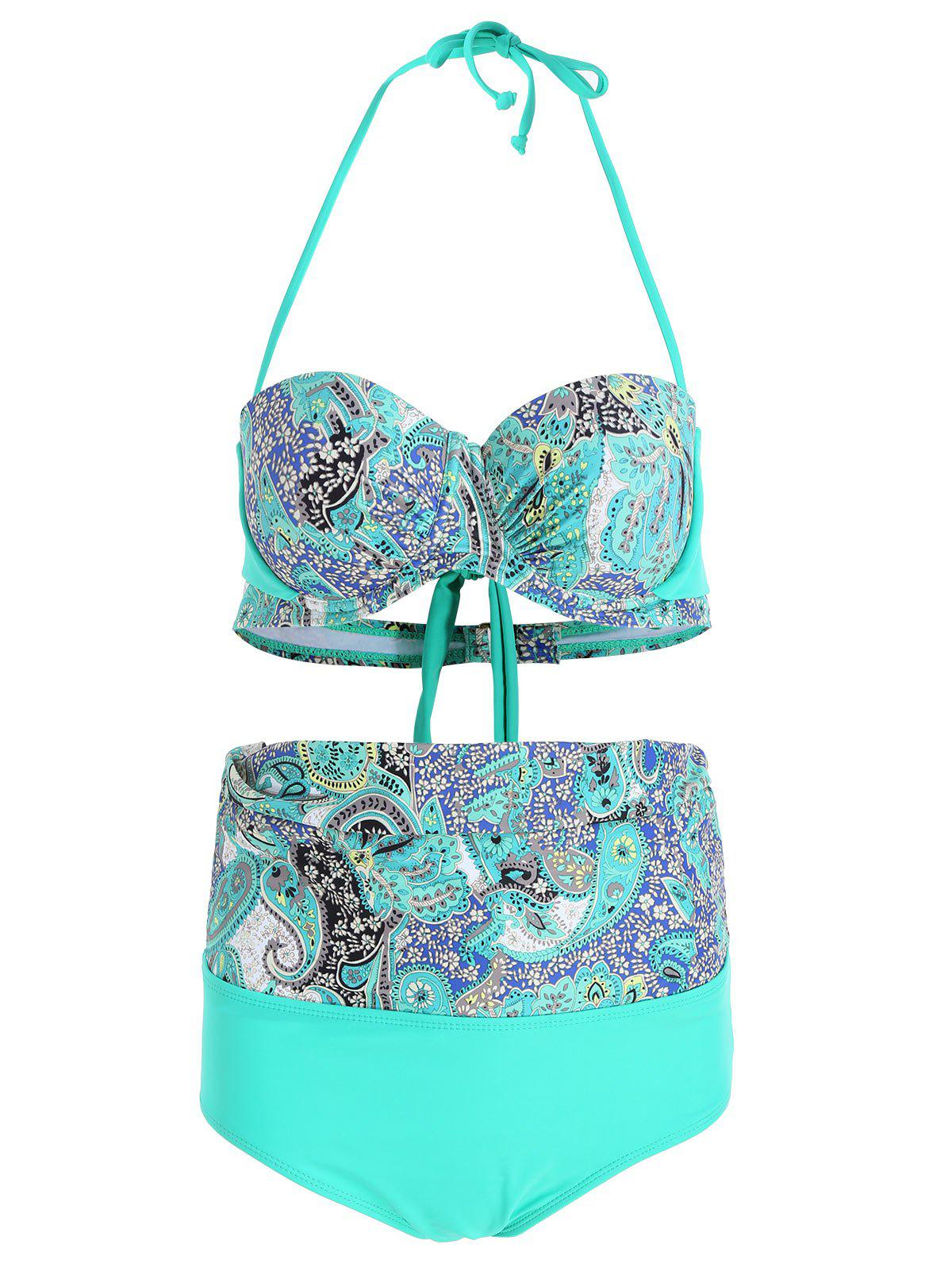 High Waist Plus Size Print Bikini Set - COLORMIX XL