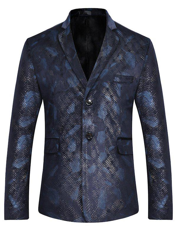 Two Button Feather Print Casual Blazer - BLUE M