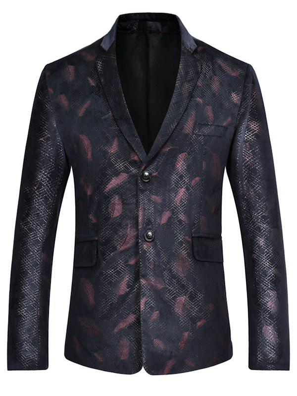 Two Button Feather Print Casual Blazer - RED S