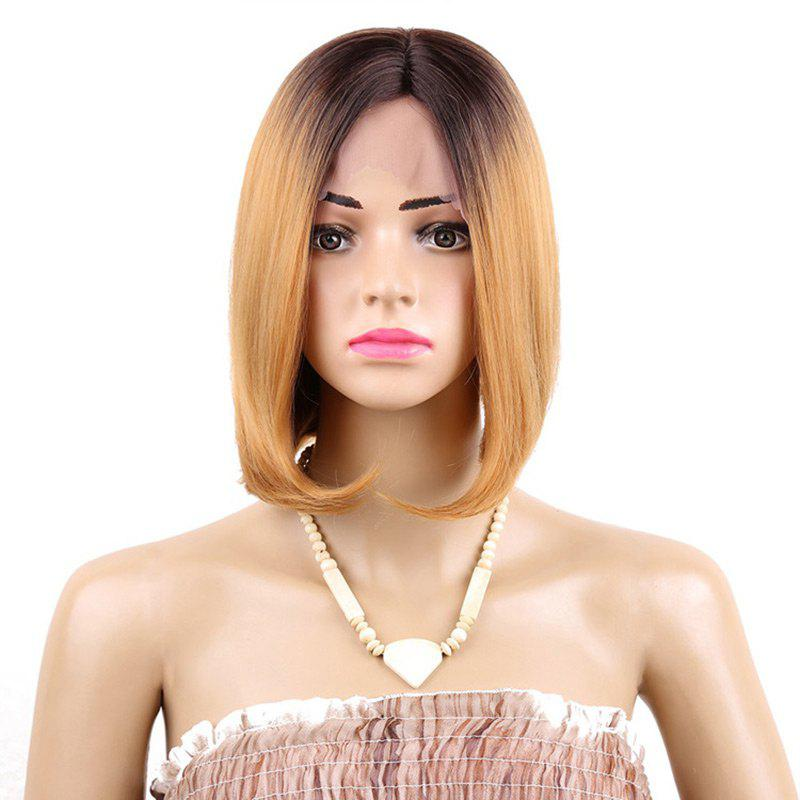 Middle Part Ombre Straight Short Bob Synthetic Lace Front Wig
