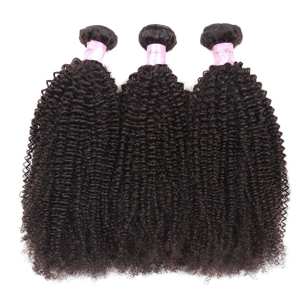 1Pc Peruvian Shaggy Afro Kinky Curly Human Hair Weave - NATURAL BLACK 24INCH