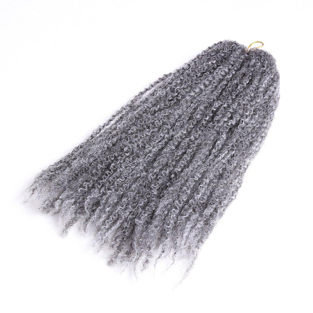 Long Bouffant Afro Kinky Curly Braids Synthetic Hair Weave - gris