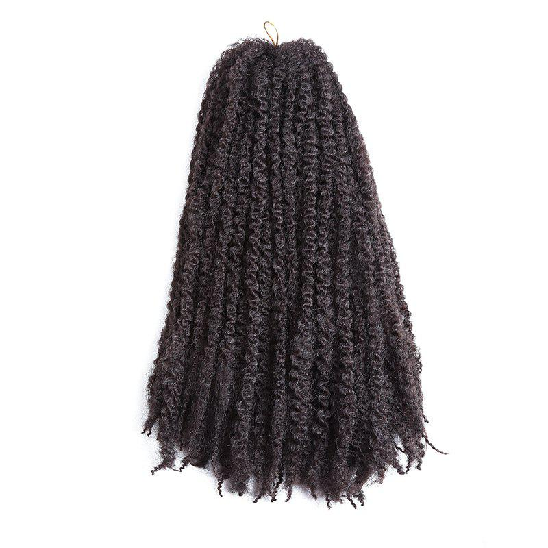 Long Bouffant Afro Kinky Curly Braids Synthetic Hair Weave - Brun