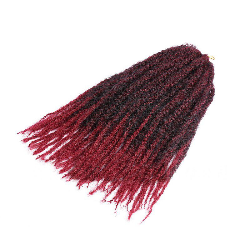 Long Bouffant Afro Kinky Curly Braids Synthetic Hair Weave - BLACK/WINE RED C