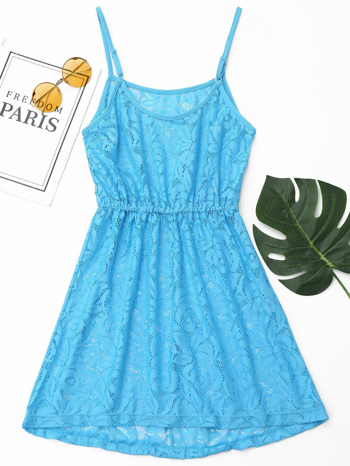 Lace Cami Cover Up Dress - BLUE XL