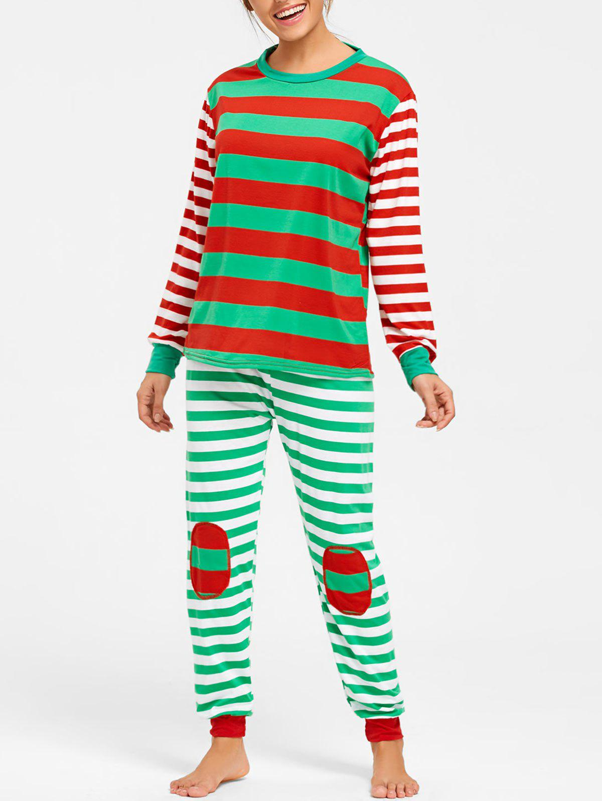 Color Block Striped Christmas Pajama Set - COLORMIX L