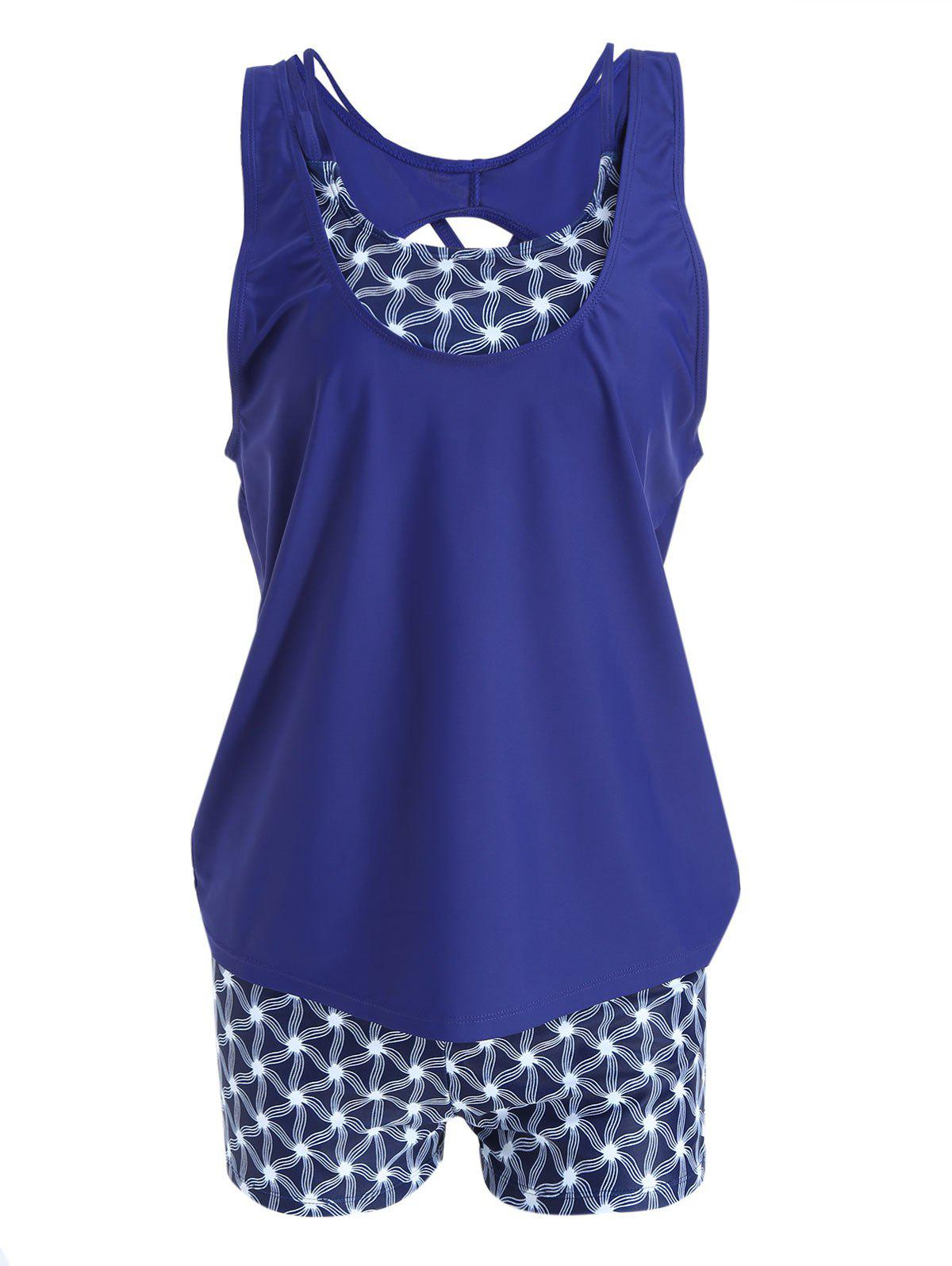 Plus Size Strappy Print Tankini Set - CERULEAN XL