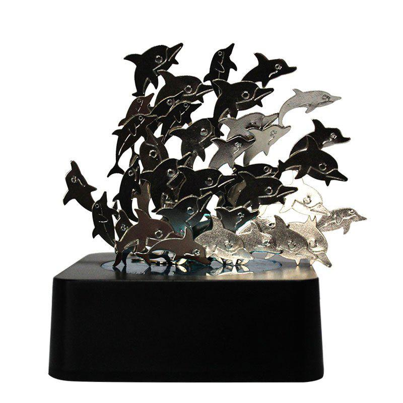 Dolphins Shaped DIY Creative Puzzle Magnetic Sculpture - BLACK