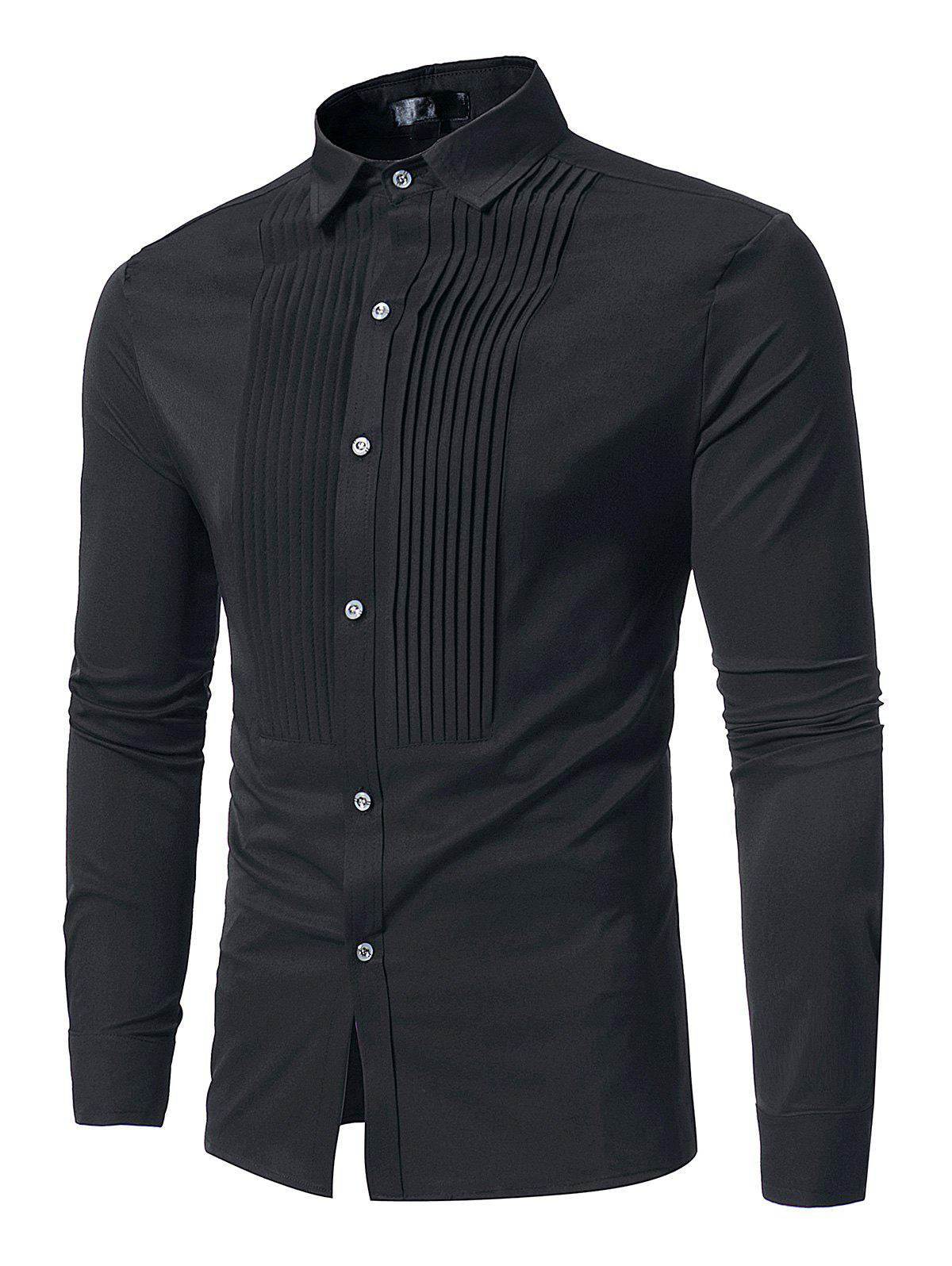 Button Front Pleated Long Sleeve Shirt - BLACK S