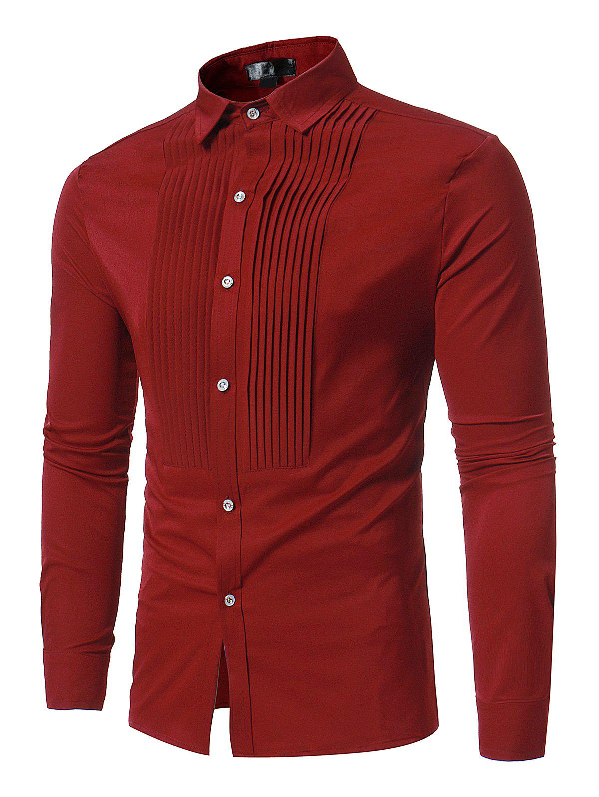 Button Front Pleated Long Sleeve Shirt - RED XL